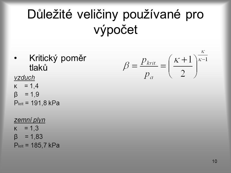 10 Důležité veličiny používané pro výpočet Kritický poměr tlaků vzduch κ = 1,4 β = 1,9 P krit = 191,8 kPa zemní plyn κ = 1,3 β = 1,83 P krit = 185,7 k