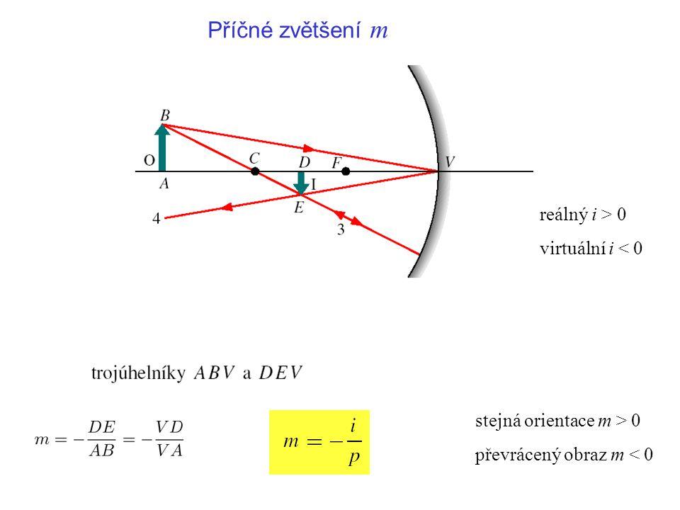 reálný i > 0 virtuální i < 0 Příčné zvětšení m stejná orientace m > 0 převrácený obraz m < 0