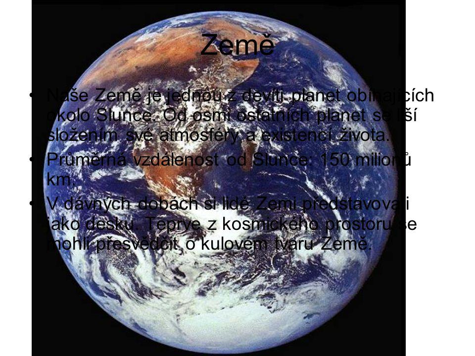 Země Naše Země je jednou z devíti planet obíhajících okolo Slunce.
