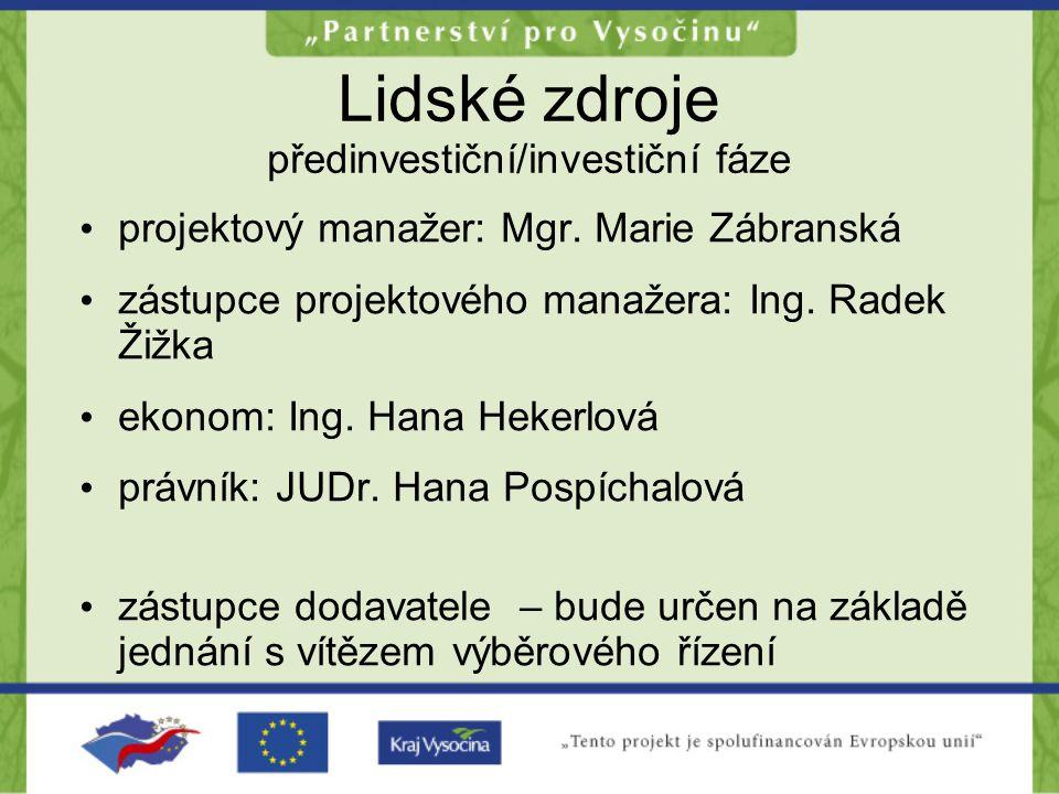 Lidské zdroje předinvestiční/investiční fáze projektový manažer: Mgr.
