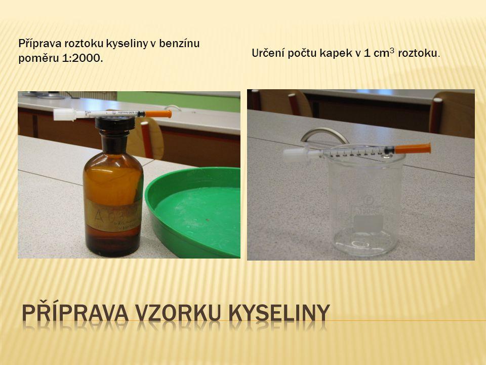 Příprava roztoku kyseliny v benzínu poměru 1:2000. Určení počtu kapek v 1 cm 3 roztoku.