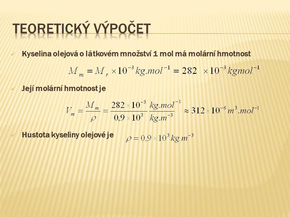 Kyselina olejová o látkovém množství 1 mol má molární hmotnost Její molární hmotnost je Hustota kyseliny olejové je