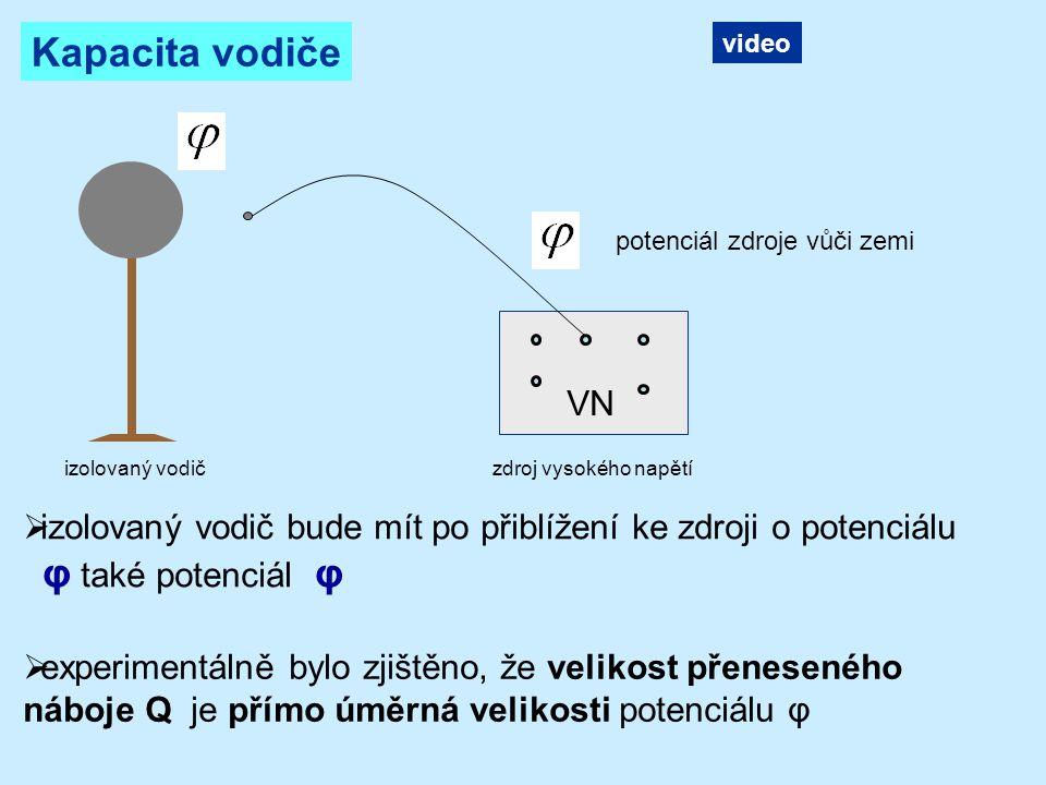 Platí: konstanta úměrnosti pro daný vodič = kapacita vodiče jednotka kapacity farad Vodič má kapacitu 1 F, jestliže se nábojem 1 C nabije na potenciál 1 V.