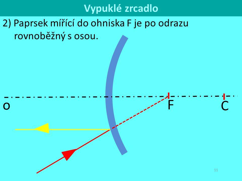 C o 11 2) Paprsek mířící do ohniska F je po odrazu rovnoběžný s osou. F Vypuklé zrcadlo