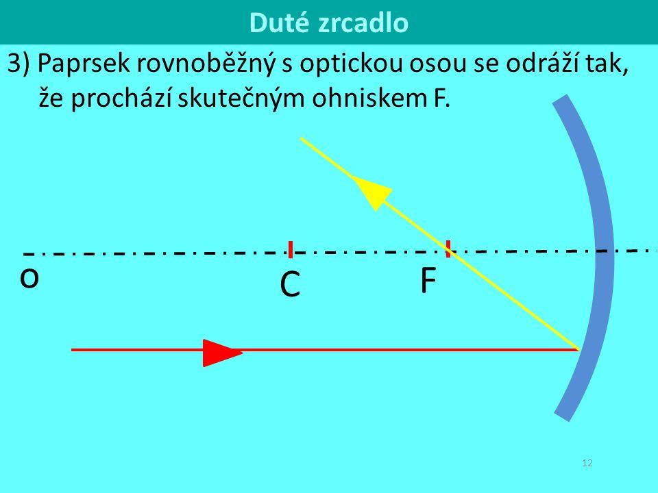12 3) Paprsek rovnoběžný s optickou osou se odráží tak, že prochází skutečným ohniskem F. F C o F Duté zrcadlo