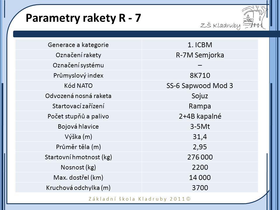 Základní škola Kladruby 2011  Parametry rakety R - 7 Generace a kategorie 1. ICBM Označení rakety R-7M Semjorka Označení systému – Průmyslový index 8