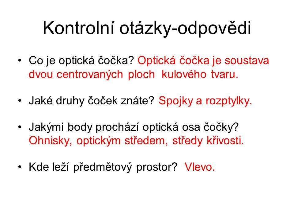 Kontrolní otázky-odpovědi Co je optická čočka.