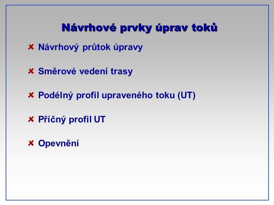CTU-Prague Návrhové prvky úprav toků Návrhový průtok úpravy Směrové vedení trasy Podélný profil upraveného toku (UT) Příčný profil UT Opevnění