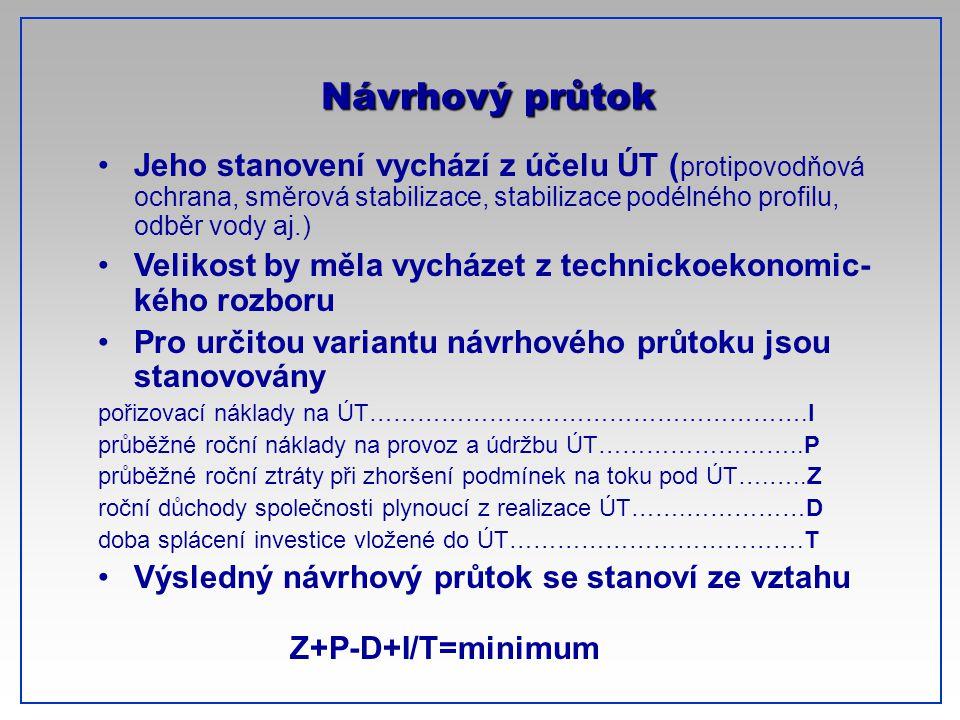 CTU-Prague Návrhový průtok Jeho stanovení vychází z účelu ÚT ( protipovodňová ochrana, směrová stabilizace, stabilizace podélného profilu, odběr vody