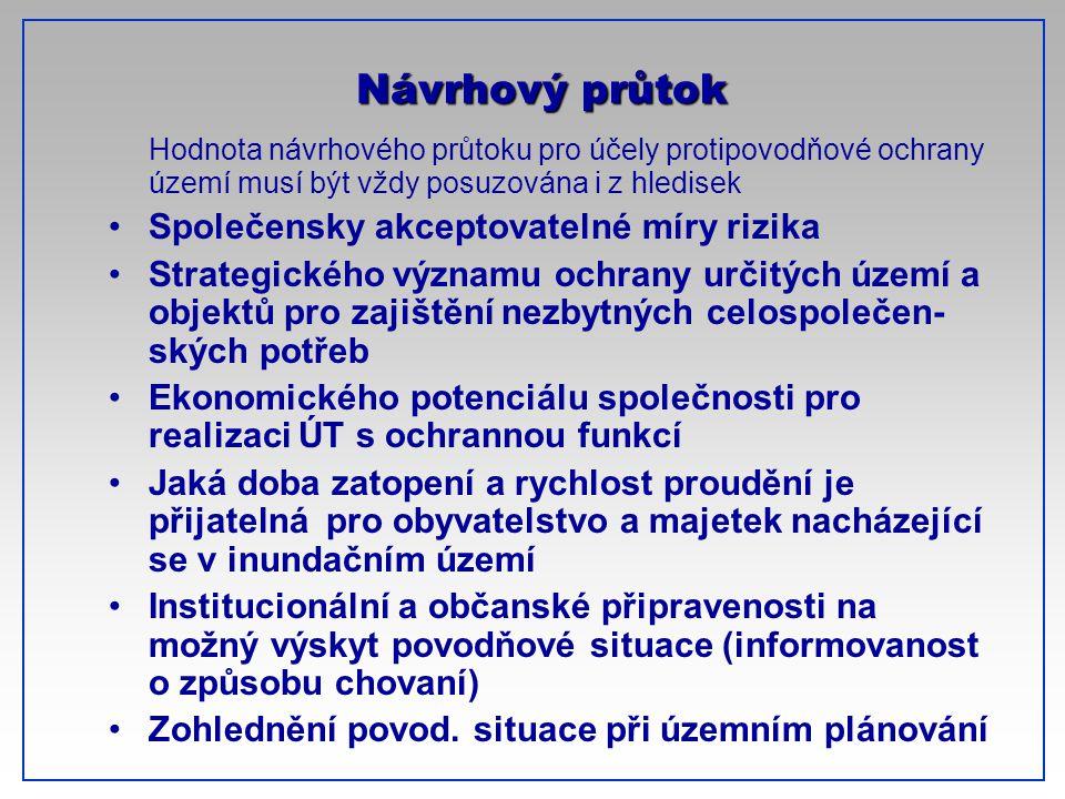 CTU-Prague Hodnota návrhového průtoku pro účely protipovodňové ochrany území musí být vždy posuzována i z hledisek Společensky akceptovatelné míry riz