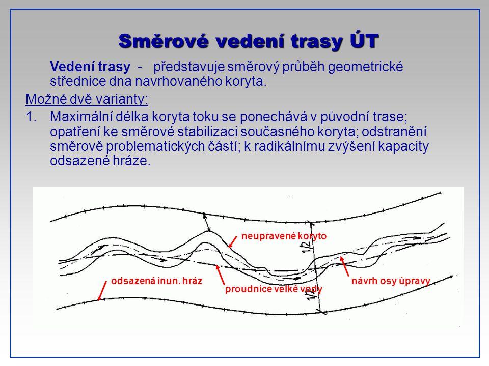 CTU-Prague Vedení trasy - představuje směrový průběh geometrické střednice dna navrhovaného koryta. Možné dvě varianty: 1.Maximální délka koryta toku