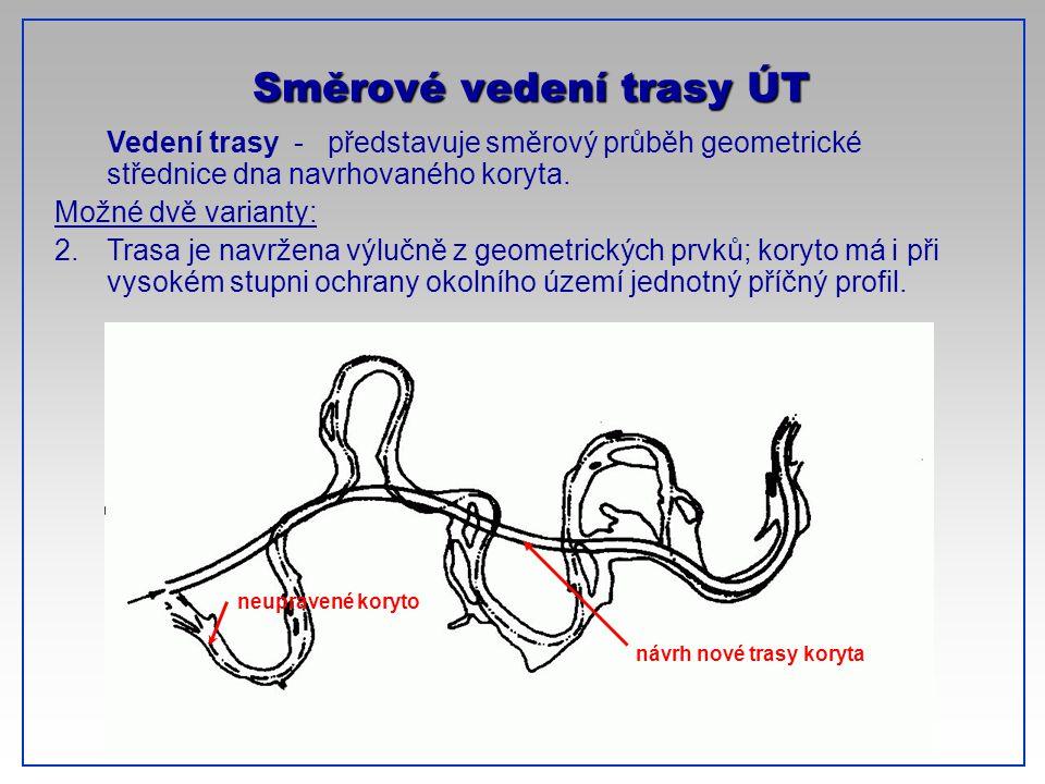 CTU-Prague Vedení trasy - představuje směrový průběh geometrické střednice dna navrhovaného koryta. Možné dvě varianty: 2.Trasa je navržena výlučně z