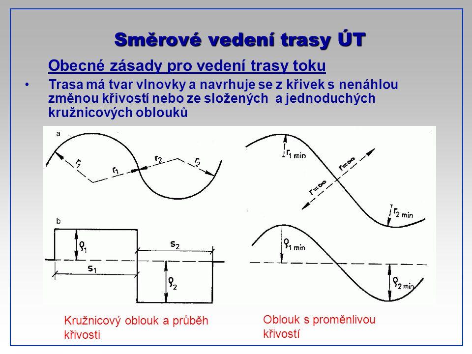 CTU-Prague Obecné zásady pro vedení trasy toku Trasa má tvar vlnovky a navrhuje se z křivek s nenáhlou změnou křivostí nebo ze složených a jednoduchýc
