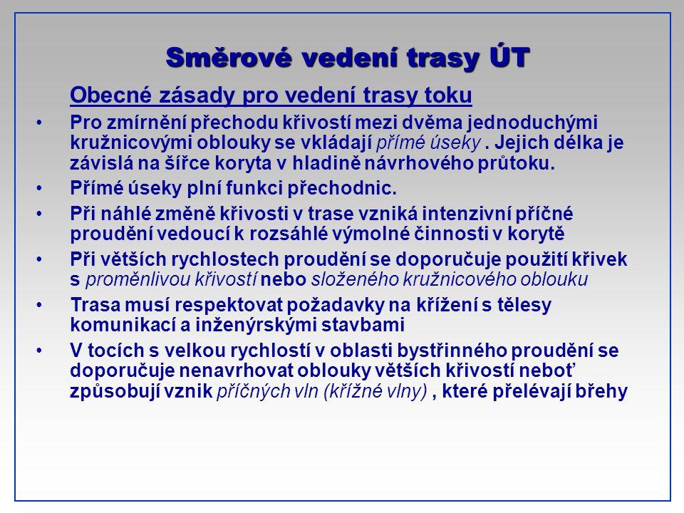 CTU-Prague Obecné zásady pro vedení trasy toku Pro zmírnění přechodu křivostí mezi dvěma jednoduchými kružnicovými oblouky se vkládají přímé úseky. Je
