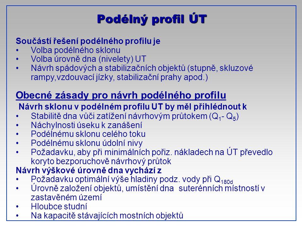 CTU-Prague Podélný profil ÚT Součástí řešení podélného profilu je Volba podélného sklonu Volba úrovně dna (nivelety) UT Návrh spádových a stabilizační