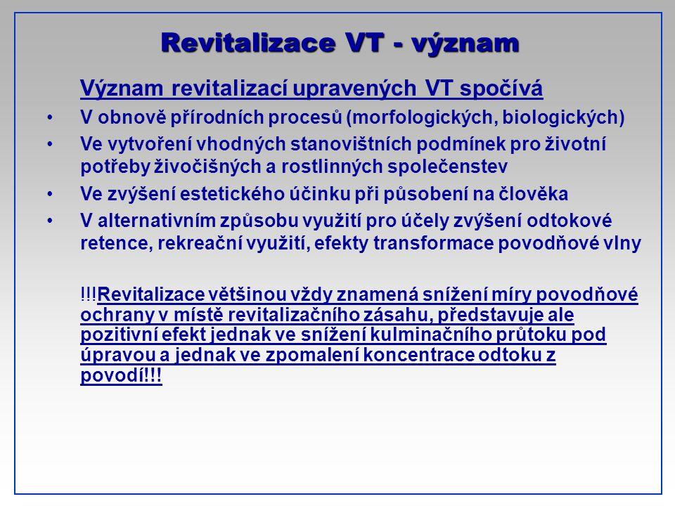 CTU-Prague Revitalizace VT - význam Význam revitalizací upravených VT spočívá V obnově přírodních procesů (morfologických, biologických) Ve vytvoření
