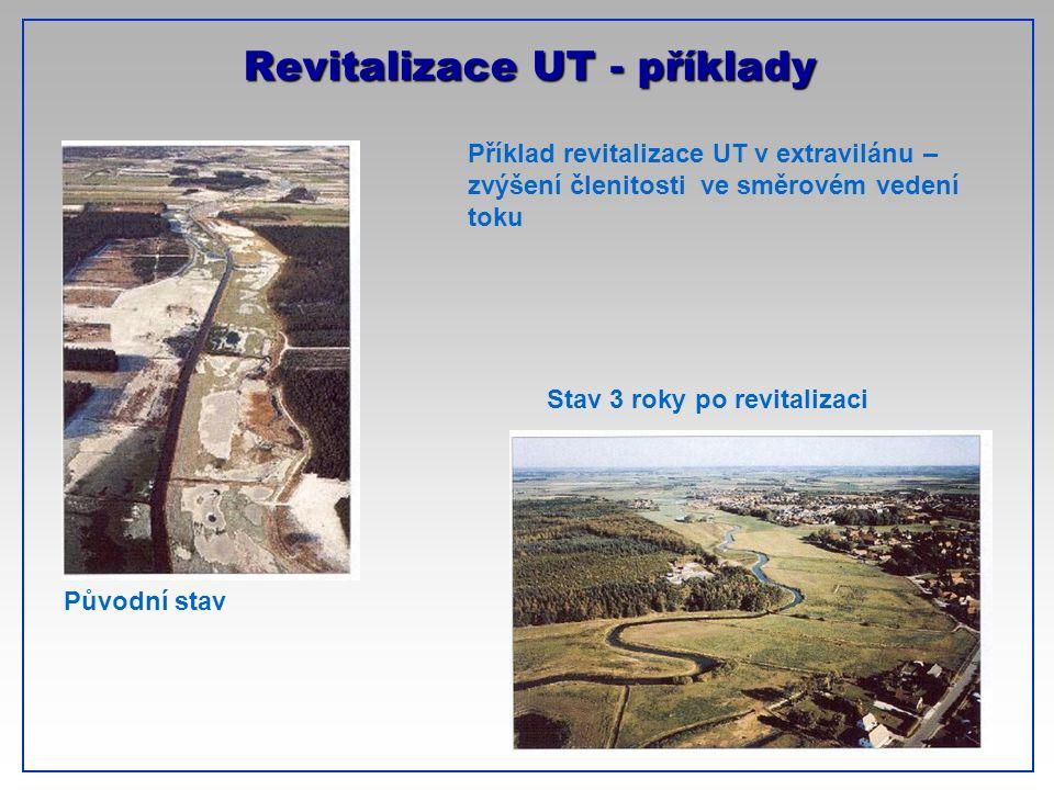 CTU-Prague Revitalizace UT - příklady Příklad revitalizace UT v extravilánu – zvýšení členitosti ve směrovém vedení toku Původní stav Stav 3 roky po r