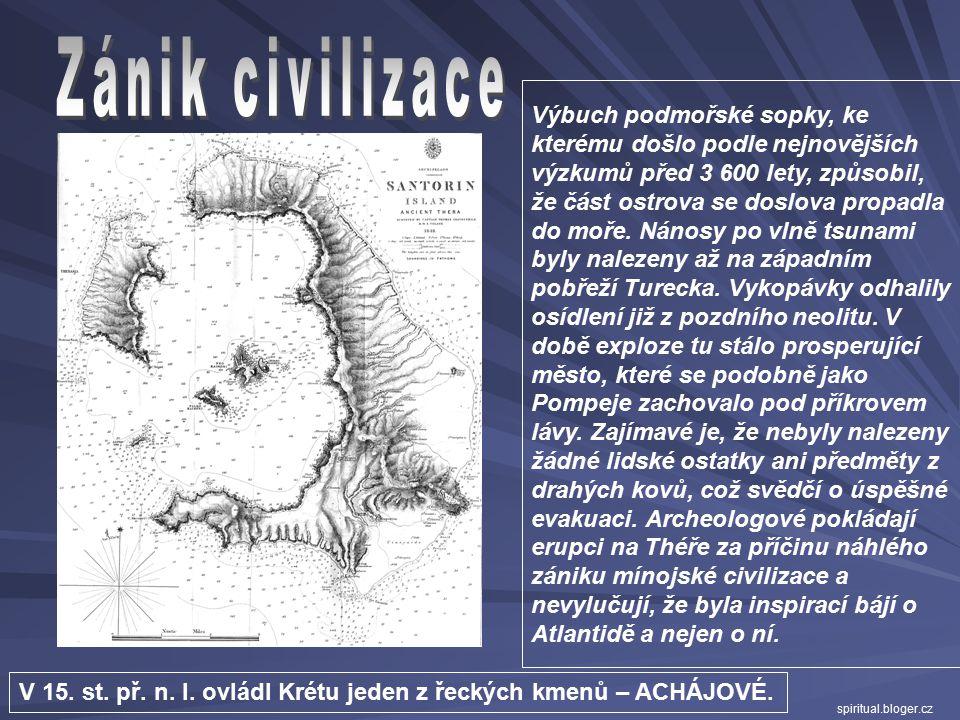"""Proslulá freska """"Hry s býkem"""" z východního křídla paláce  býk byl na Krétě posvátné zvíře  součástí náboženských obřadů a slavností byly """"býčí hry"""""""