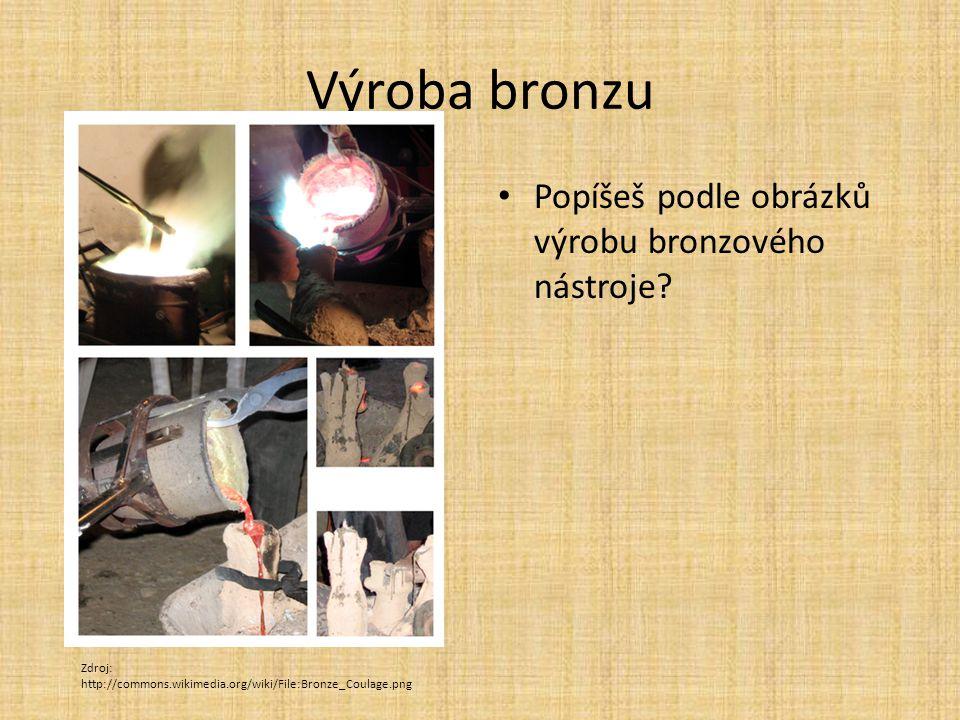 Výroba bronzu Popíšeš podle obrázků výrobu bronzového nástroje? Zdroj: http://commons.wikimedia.org/wiki/File:Bronze_Coulage.png