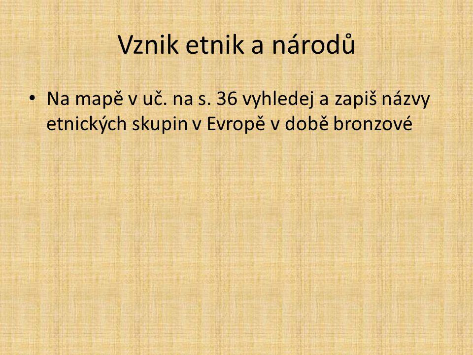 Vznik etnik a národů Na mapě v uč. na s. 36 vyhledej a zapiš názvy etnických skupin v Evropě v době bronzové
