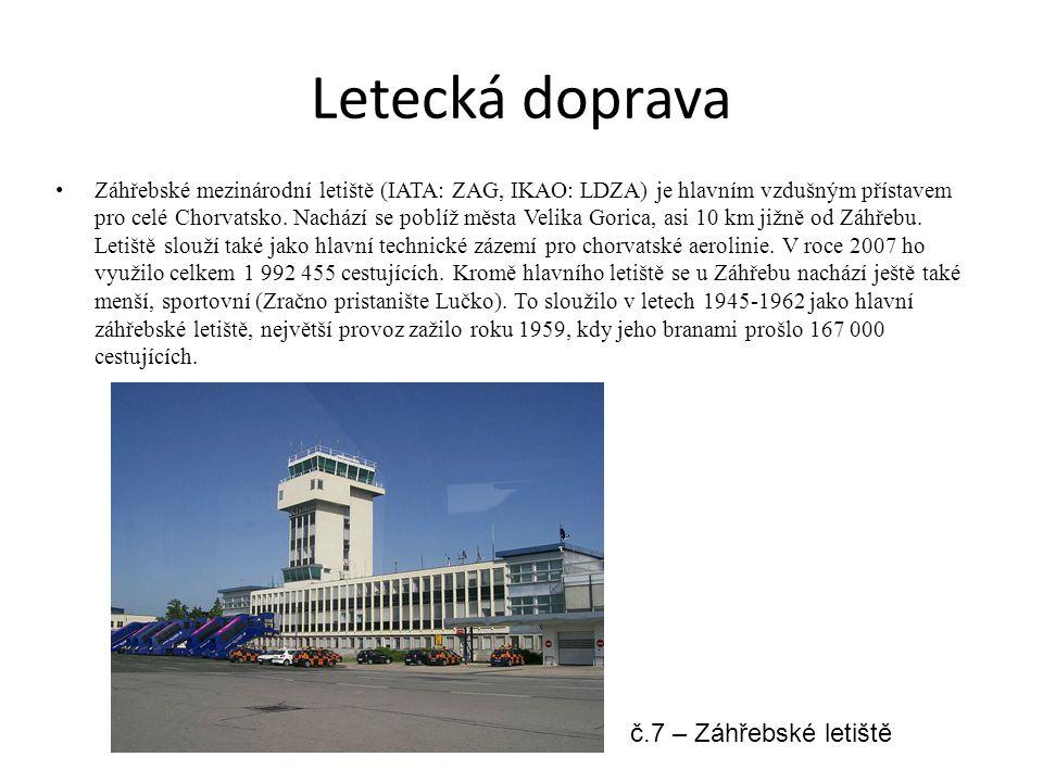 Letecká doprava Záhřebské mezinárodní letiště (IATA: ZAG, IKAO: LDZA) je hlavním vzdušným přístavem pro celé Chorvatsko. Nachází se poblíž města Velik