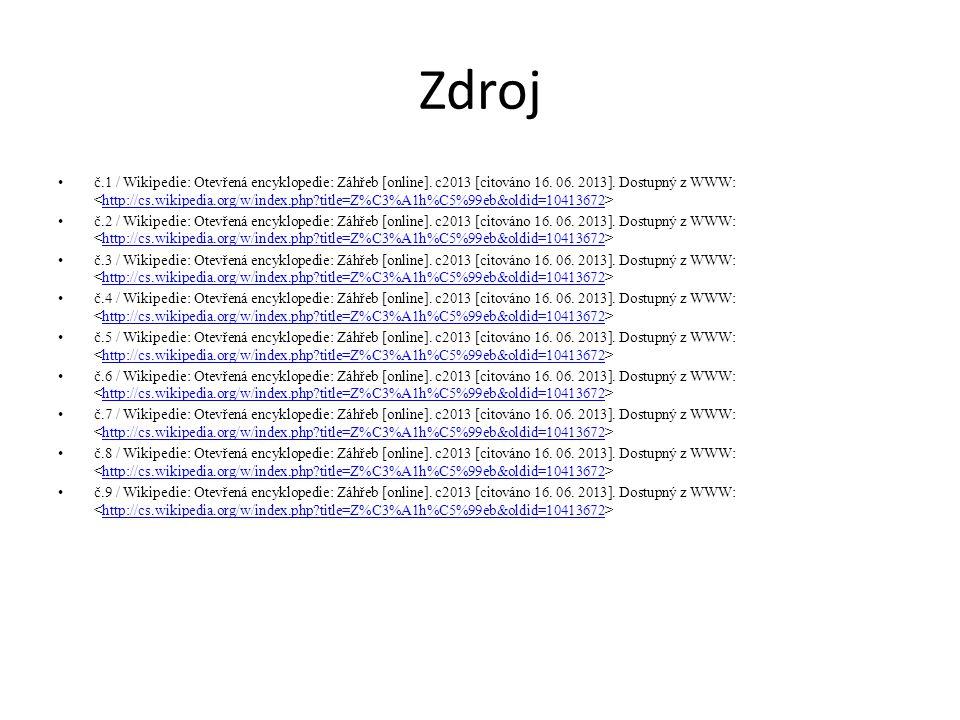 Zdroj č.1 / Wikipedie: Otevřená encyklopedie: Záhřeb [online]. c2013 [citováno 16. 06. 2013]. Dostupný z WWW: http://cs.wikipedia.org/w/index.php?titl