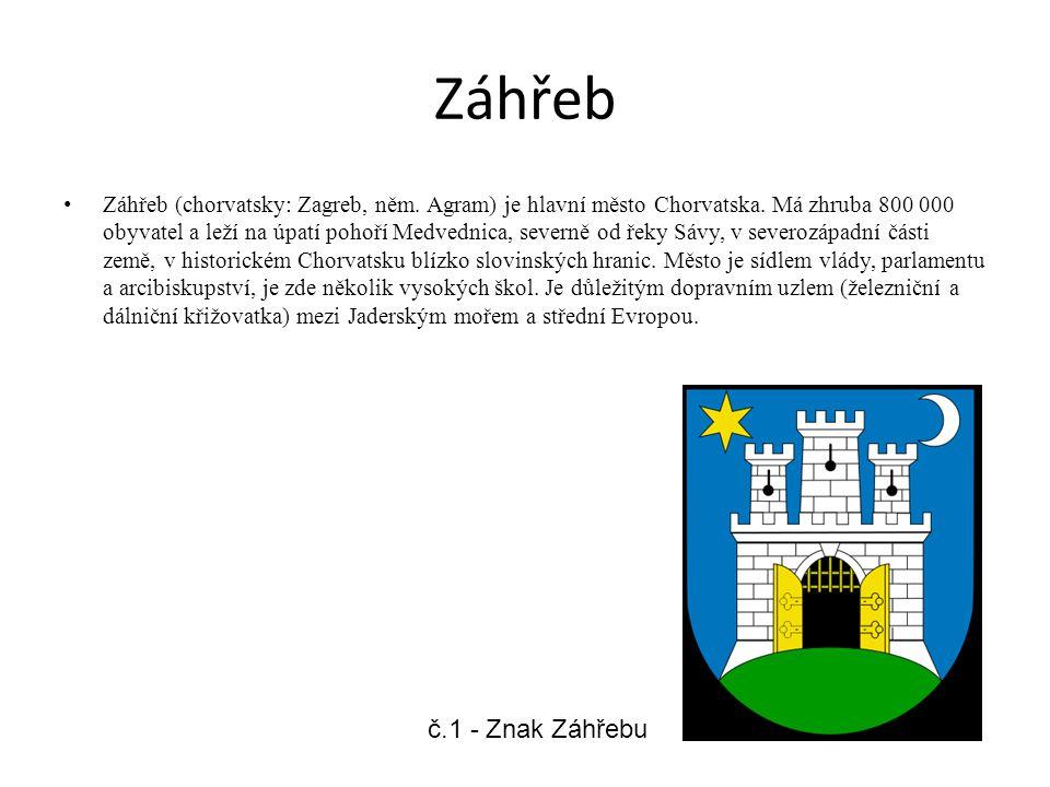 Záhřeb Záhřeb (chorvatsky: Zagreb, něm. Agram) je hlavní město Chorvatska. Má zhruba 800 000 obyvatel a leží na úpatí pohoří Medvednica, severně od ře