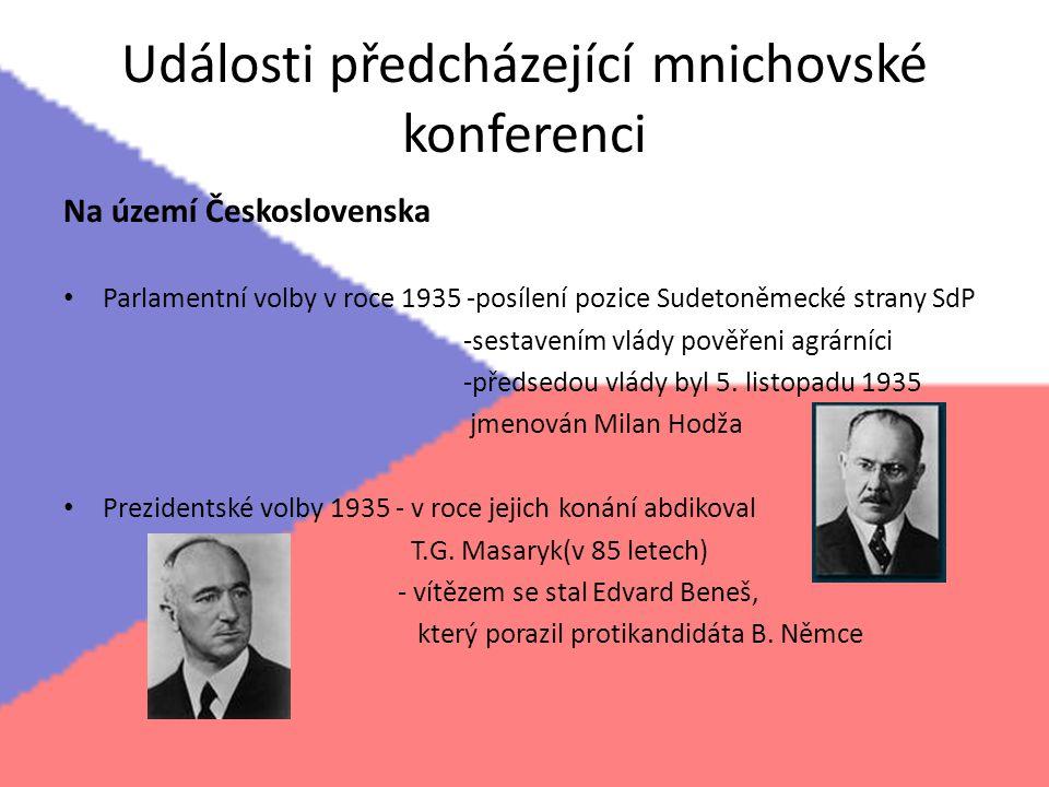 Události předcházející mnichovské konferenci Na území Československa Parlamentní volby v roce 1935 -posílení pozice Sudetoněmecké strany SdP -sestaven