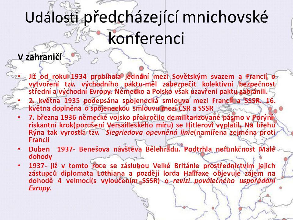 Události předcházející mnichovské konferenci V zahraničí Již od roku 1934 probíhala jednání mezi Sovětským svazem a Francií o vytvoření tzv. východníh