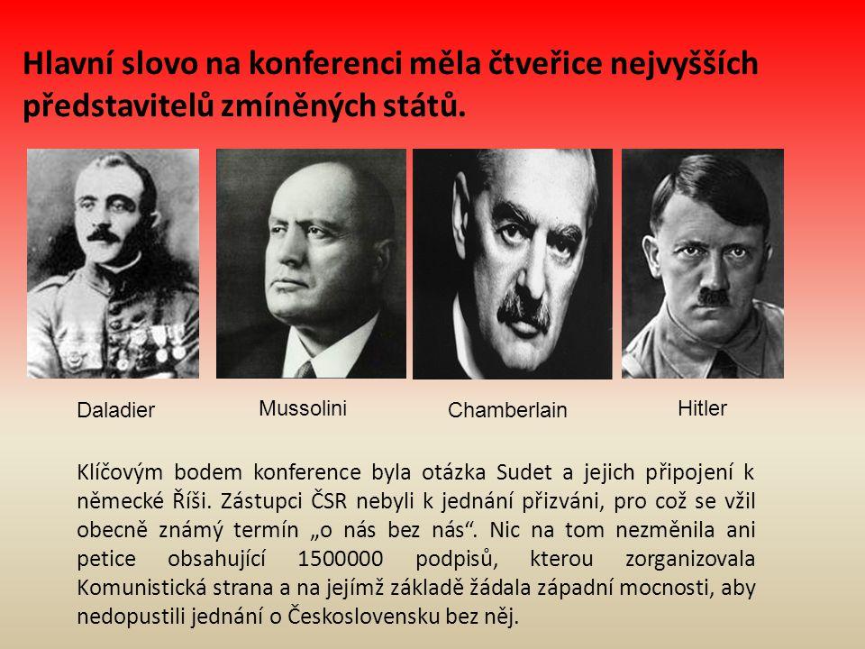 Výsledky jednání Konference měla rychlý průběh-byla zahájena ve 12h 55 minut Adolfem Hitlerem a do půlnoci byl podepsán konečný text dohody V 1:30 ráno byla smlouva předána do rukou zástupců ČSR v čele s Vojtěchem Mastným-předání smlouvy bylo bráno jako její automatické přijetí Následuje jednání vrcholných představitelů Československého státu, jehož cílem je utvoření stanoviska k obdržené smlouvě-po konzultacích s generály se vláda rozhodla smlouvu přijmout, neboť při nepřijetí by hrozily ještě větší ztráty než nyní