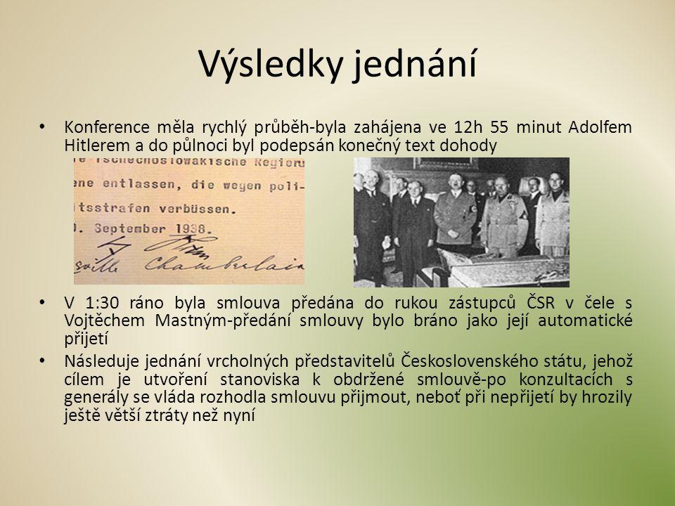 Výsledky jednání Konference měla rychlý průběh-byla zahájena ve 12h 55 minut Adolfem Hitlerem a do půlnoci byl podepsán konečný text dohody V 1:30 rán