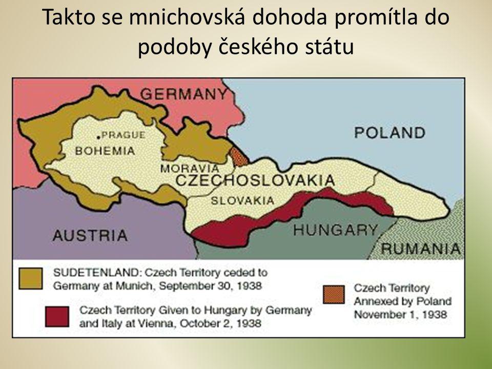 Obsah smlouvy Základní body mnichovské dohody: Vyklizování započne 1.