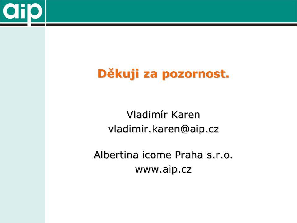 Děkuji za pozornost. Vladimír Karen vladimir.karen@aip.cz Albertina icome Praha s.r.o. www.aip.cz