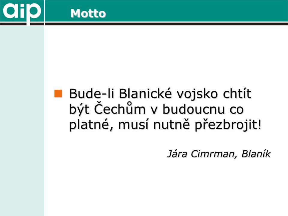 Motto Bude-li Blanické vojsko chtít být Čechům v budoucnu co platné, musí nutně přezbrojit! Bude-li Blanické vojsko chtít být Čechům v budoucnu co pla