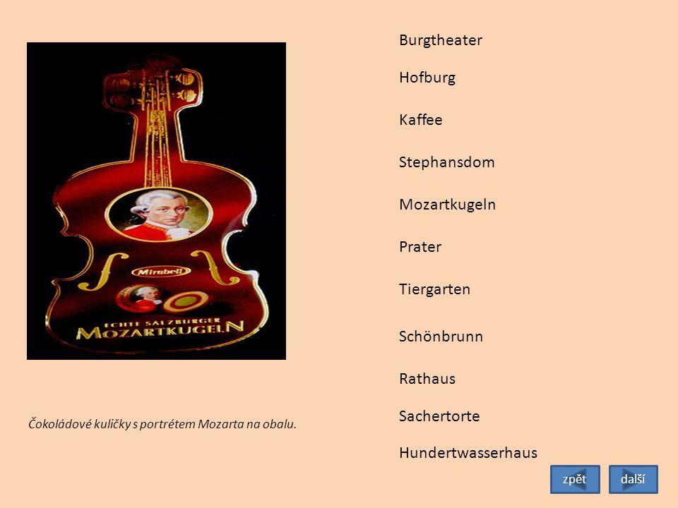 Tiergarten Burgtheater Hofburg Stephansdom Mozartkugeln Prater Schönbrunn Rathaus Sachertorte Kaffee Dům známého vídeňského architekta Hundertwassera.