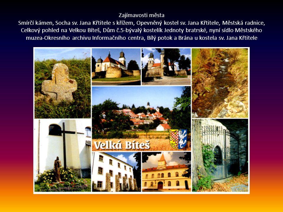 Zajímavosti města Smírčí kámen, Socha sv. Jana Křtitele s křížem, Opevněný kostel sv.