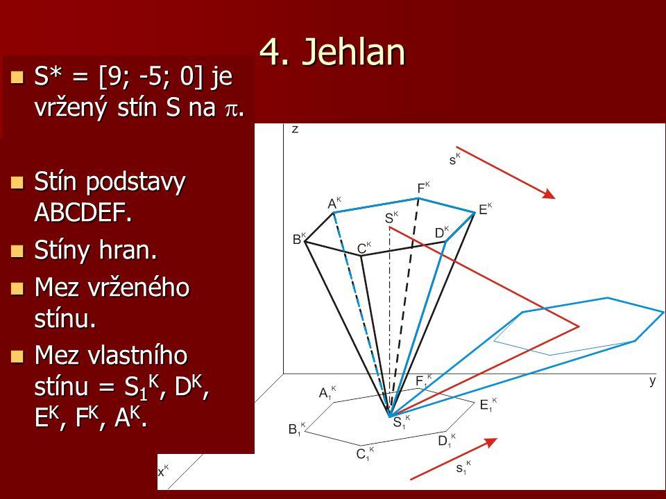 4. Jehlan S* = [9; -5; 0] je vržený stín S na . S* = [9; -5; 0] je vržený stín S na . Stín podstavy ABCDEF. Stín podstavy ABCDEF. Stíny hran. Stíny