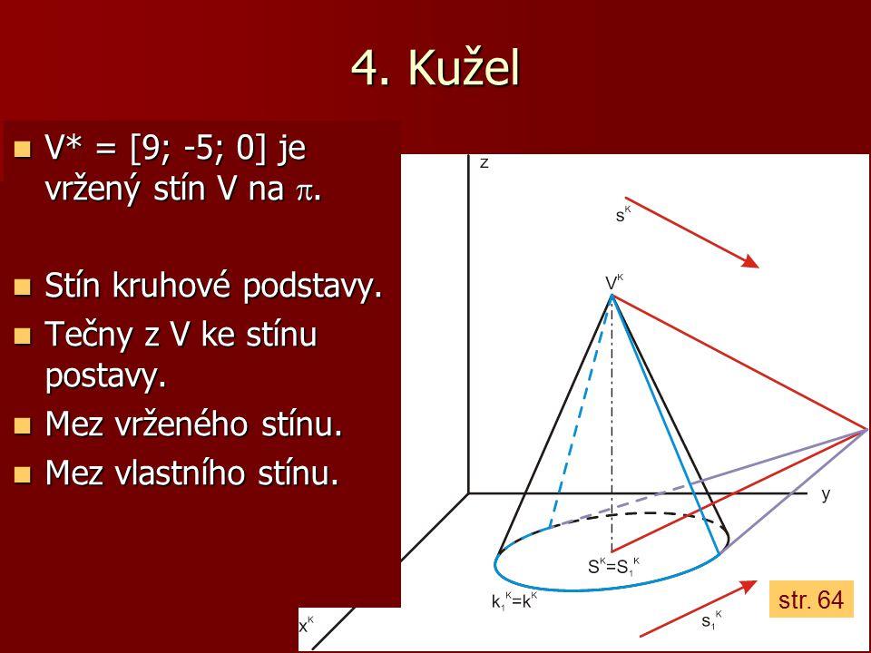 4. Kužel V* = [9; -5; 0] je vržený stín V na . V* = [9; -5; 0] je vržený stín V na . Stín kruhové podstavy. Stín kruhové podstavy. Tečny z V ke stín