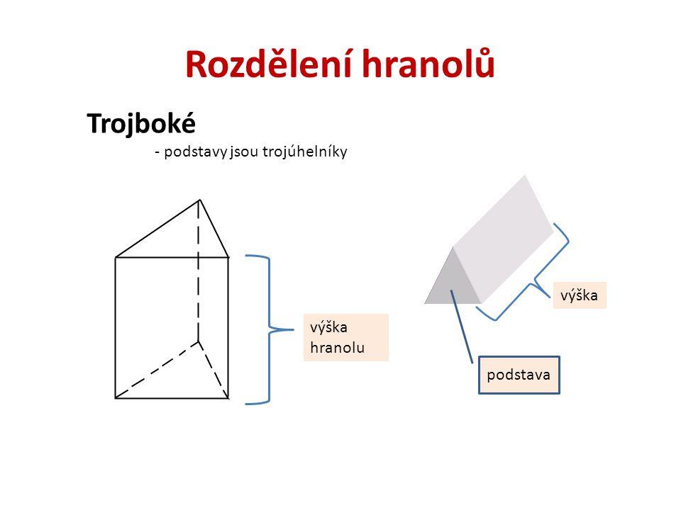 Čtyřboké - podstavy jsou čtyřúhelníky Kvádr -všechny stěny tvar obdélníku Krychle -všechny stěny tvar čtverce Ostatní čtyřboké hranoly podstavy jsou -lichoběžníky -rovnoběžníky -různoběžníky