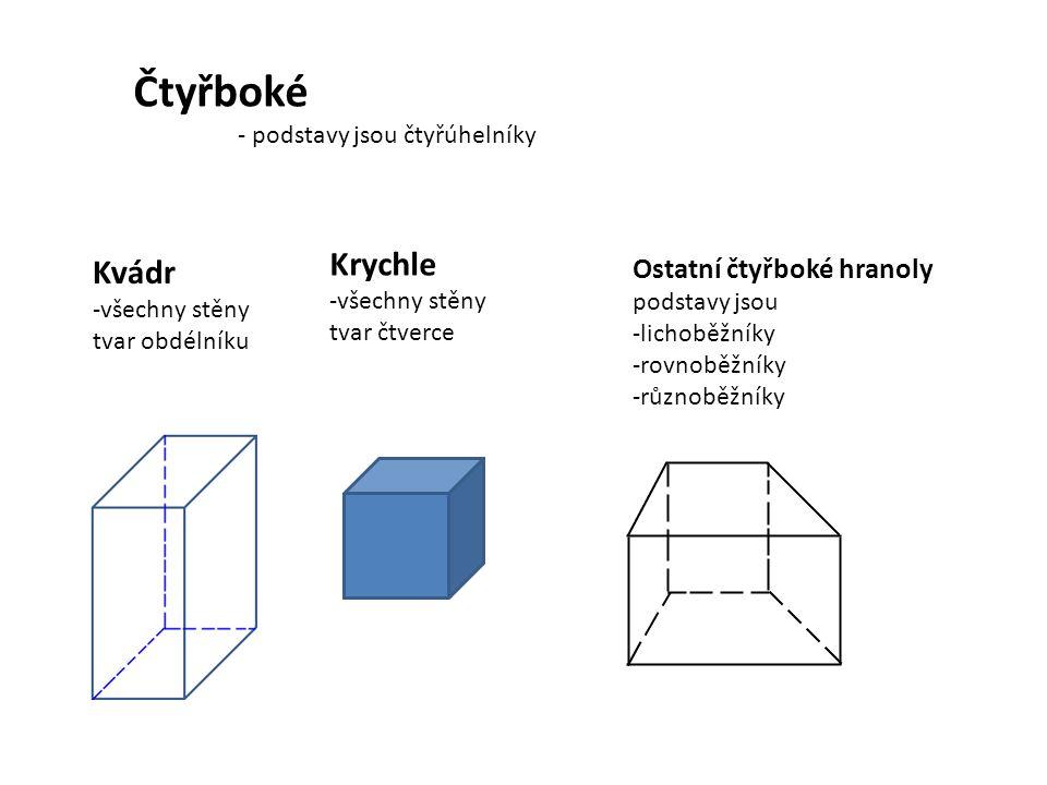 Čtyřboké - podstavy jsou čtyřúhelníky Kvádr -všechny stěny tvar obdélníku Krychle -všechny stěny tvar čtverce Ostatní čtyřboké hranoly podstavy jsou -