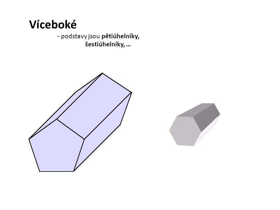 Boční stěny hranolů jsou obdélníky nebo čtverce Výška hranolu je délka jeho boční hrany Plášť hranolu - je složen ze všech bočních stěn