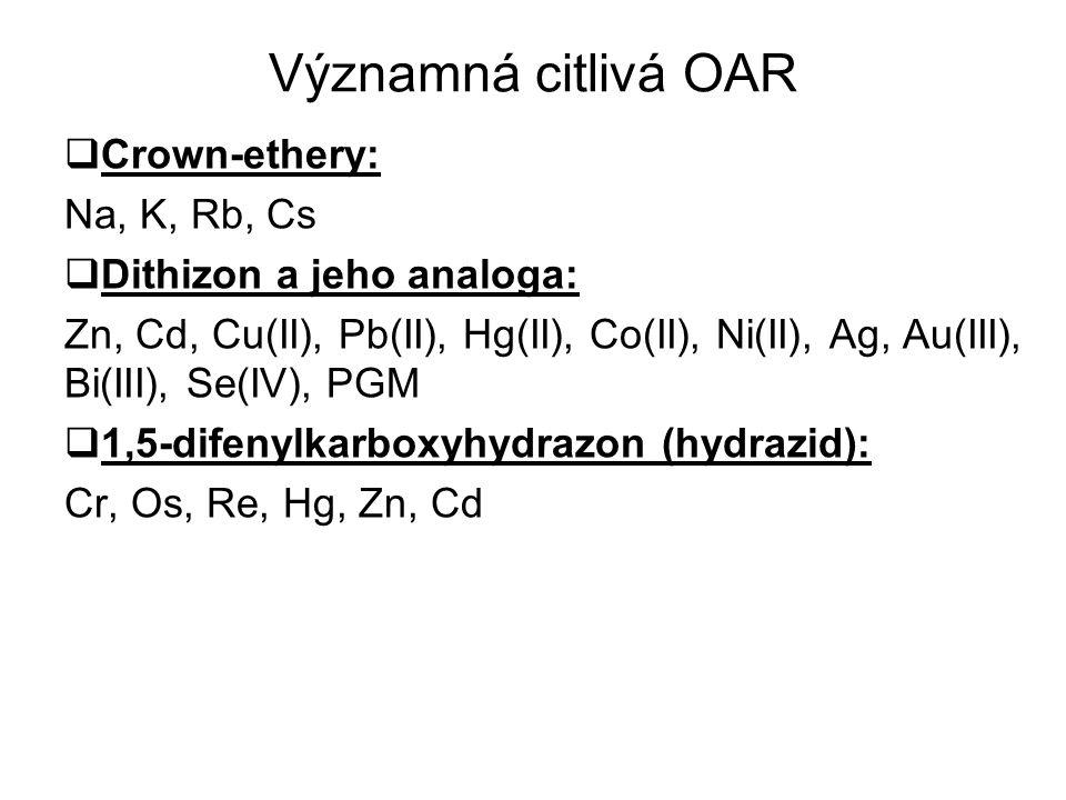 Významná citlivá OAR  Crown-ethery: Na, K, Rb, Cs  Dithizon a jeho analoga: Zn, Cd, Cu(II), Pb(II), Hg(II), Co(II), Ni(II), Ag, Au(III), Bi(III), Se