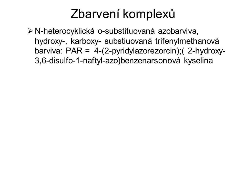 Zbarvení komplexů  N-heterocyklická o-substituovaná azobarviva, hydroxy-, karboxy- substiuovaná trifenylmethanová barviva: PAR = 4-(2-pyridylazorezor