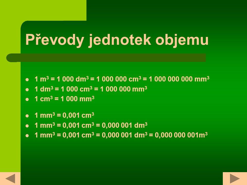 Převody jednotek objemu 1 m 3 = 1 000 dm 3 = 1 000 000 cm 3 = 1 000 000 000 mm 3 1 dm 3 = 1 000 cm 3 = 1 000 000 mm 3 1 cm 3 = 1 000 mm 3 1 mm 3 = 0,001 cm 3 1 mm 3 = 0,001 cm 3 = 0,000 001 dm 3 1 mm 3 = 0,001 cm 3 = 0,000 001 dm 3 = 0,000 000 001m 3