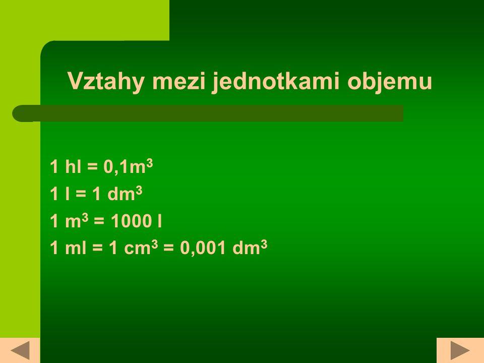 Vztahy mezi jednotkami objemu 1 hl = 0,1m 3 1 l = 1 dm 3 1 m 3 = 1000 l 1 ml = 1 cm 3 = 0,001 dm 3