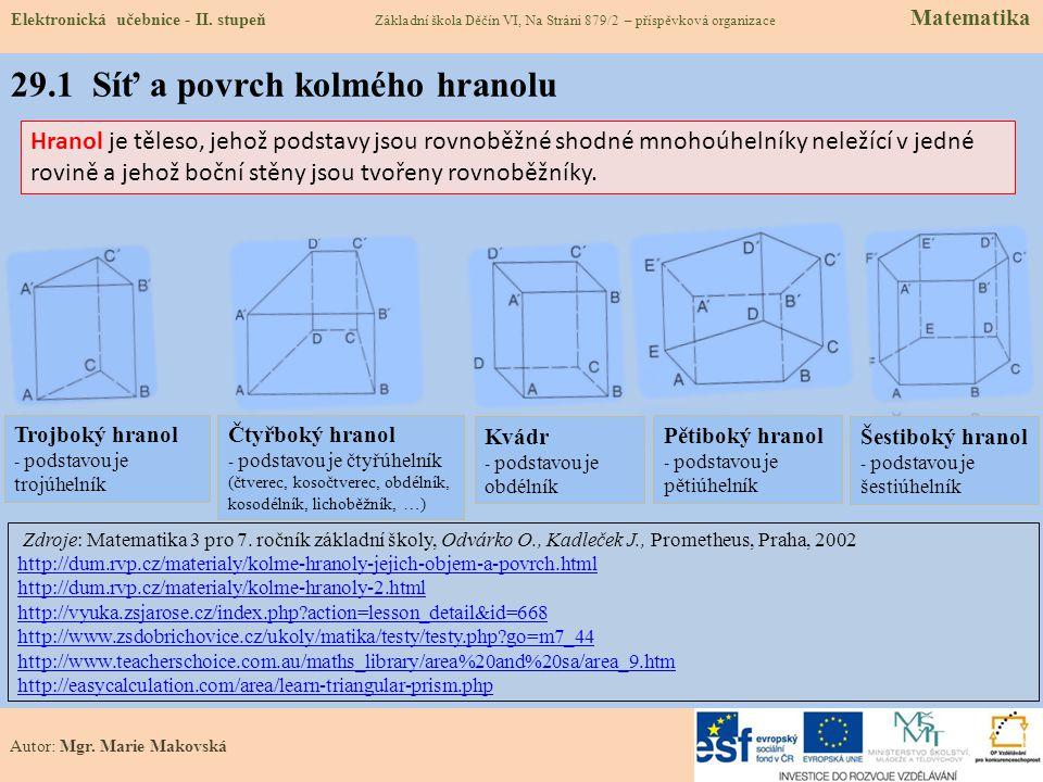 29.1 Síť a povrch kolmého hranolu Elektronická učebnice - II.