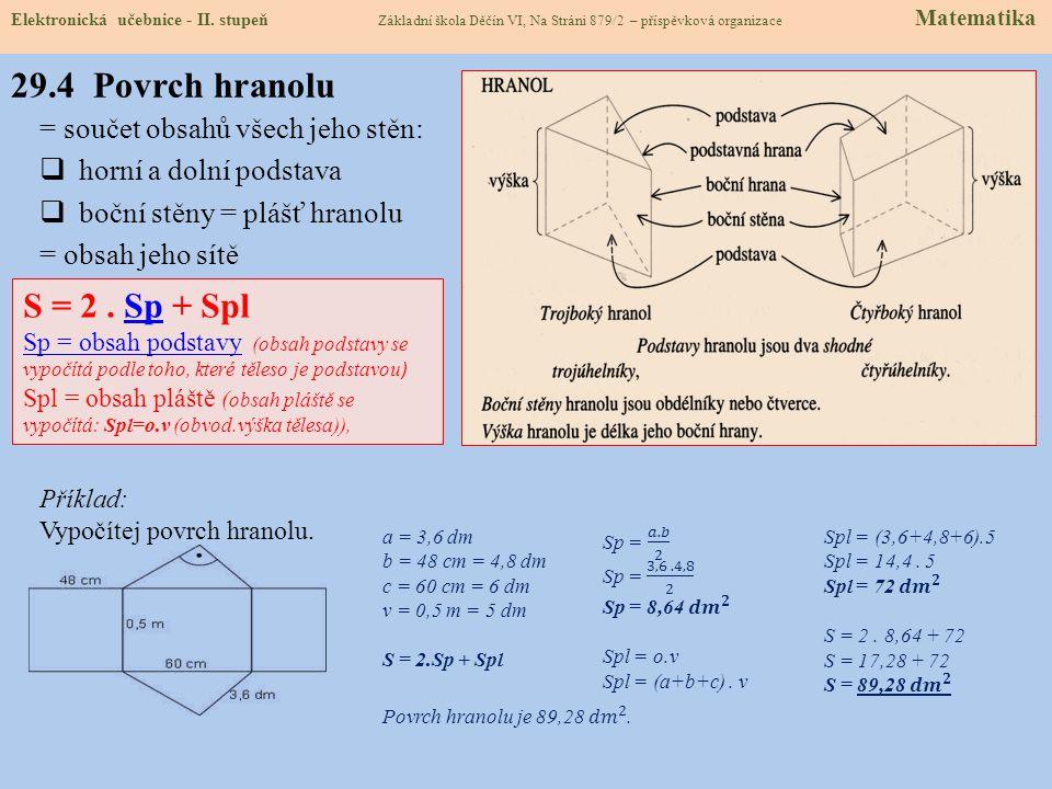 = součet obsahů všech jeho stěn:  horní a dolní podstava  boční stěny = plášť hranolu = obsah jeho sítě Elektronická učebnice - II.