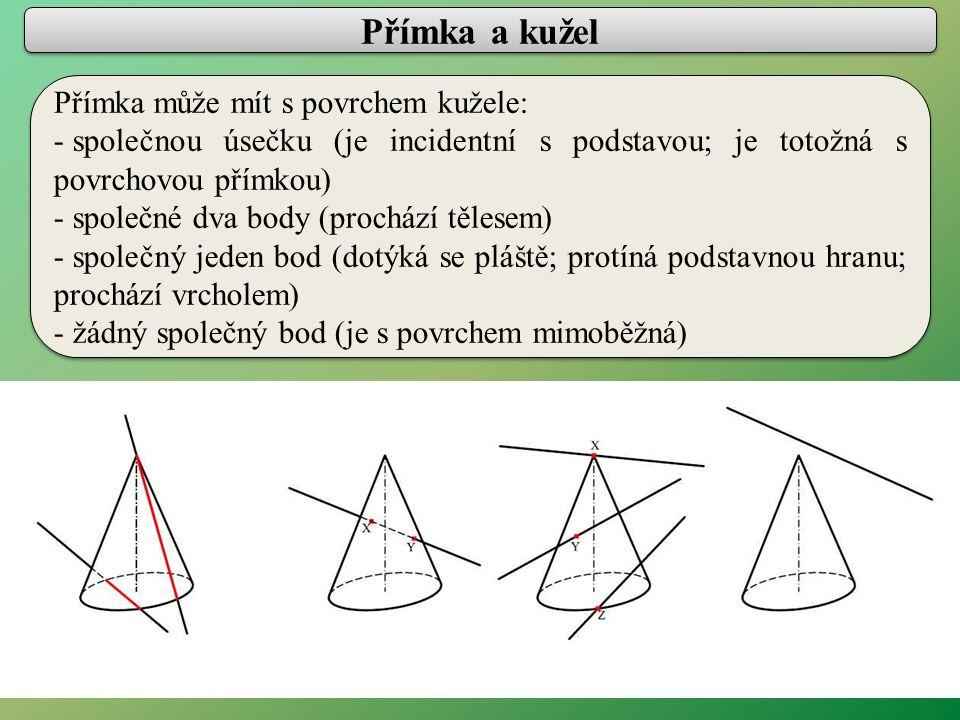 Přímka a koule Přímka může mít s povrchem koule: - společné dva body (prochází tělesem) - společný jeden bod (dotýká se povrchu) - žádný společný bod (je s povrchem mimoběžná) Přímka může mít s povrchem koule: - společné dva body (prochází tělesem) - společný jeden bod (dotýká se povrchu) - žádný společný bod (je s povrchem mimoběžná)