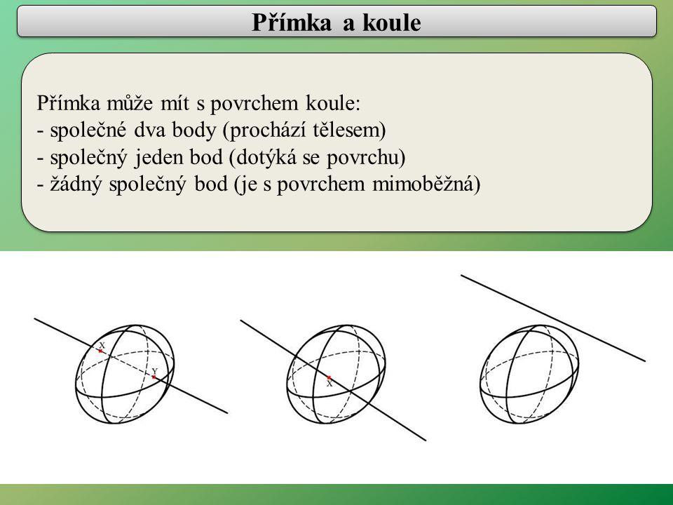 Přímka a koule Přímka může mít s povrchem koule: - společné dva body (prochází tělesem) - společný jeden bod (dotýká se povrchu) - žádný společný bod