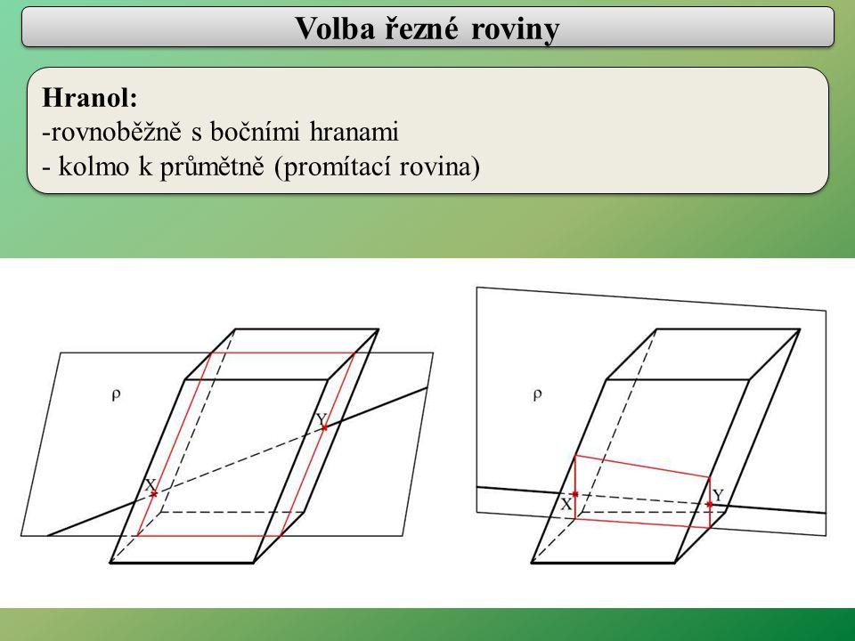Volba řezné roviny Jehlan: - hlavním vrcholem - kolmo k průmětně (promítací rovina) Jehlan: - hlavním vrcholem - kolmo k průmětně (promítací rovina)